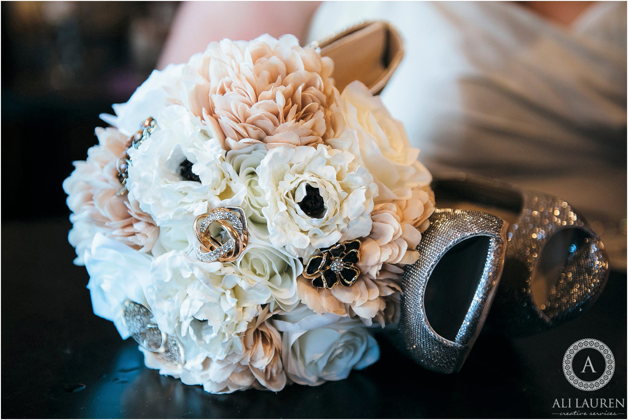 Neutral Silk Floral Wedding Bouquet